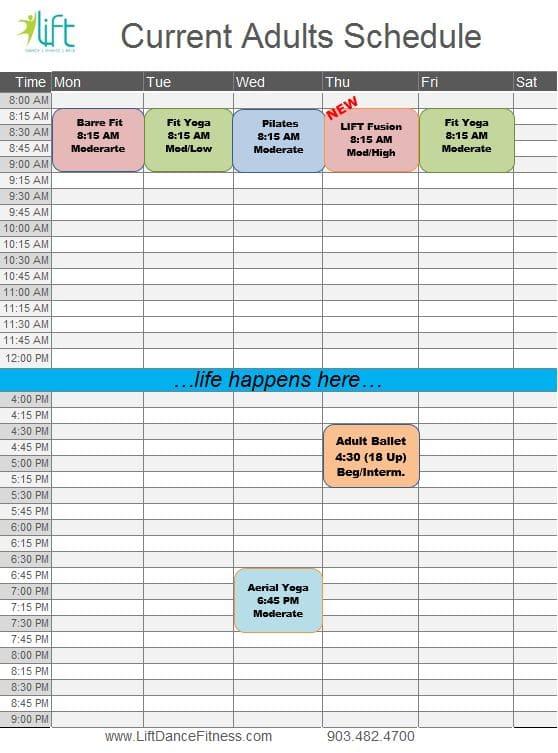 Updated 9-6-2021 Adult's Schedule